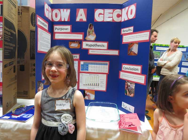 SUBMITTED PHOTO: PJ CLARK - Brooklyn Lindsey, a kindergartener, shared her experiment on how you grow a lizard during the Forest Hills Elementary School Science Fair on March 15.