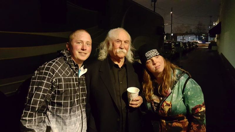 PHOTO COURTESY OF JOSH LASURE - David Crosby (center) stops for a photo with fans Josh Lasure (left) and Audrey McCloud during a recent stop in Portland. Lasure has made a habit of trying to meet his favorite musicians, actors and comedians.