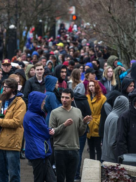 TRIBUNE PHOTO: JONATHAN HOUSE - Thousands of people lined up outside the Moda Center early Friday morning to get a chance to see presidential candidate Sen. Bernie Sanders.