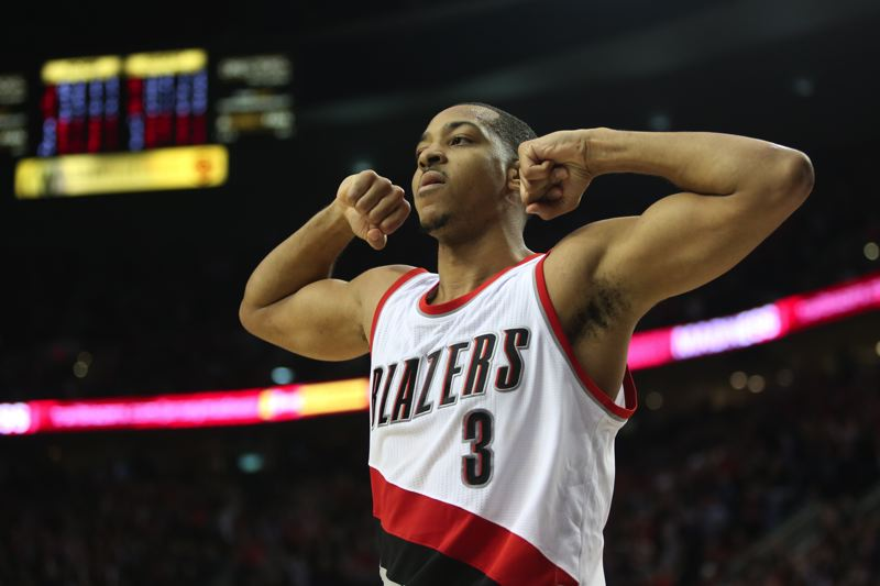 TRIBUNE PHOTO: JAIME VALDEZ - Guard CJ McCollum scored a game-high 25 points and had the winning three-point play in the closing moments Saturday as the Trail Blazers held off the Philadelphia 76ers at Moda Center.
