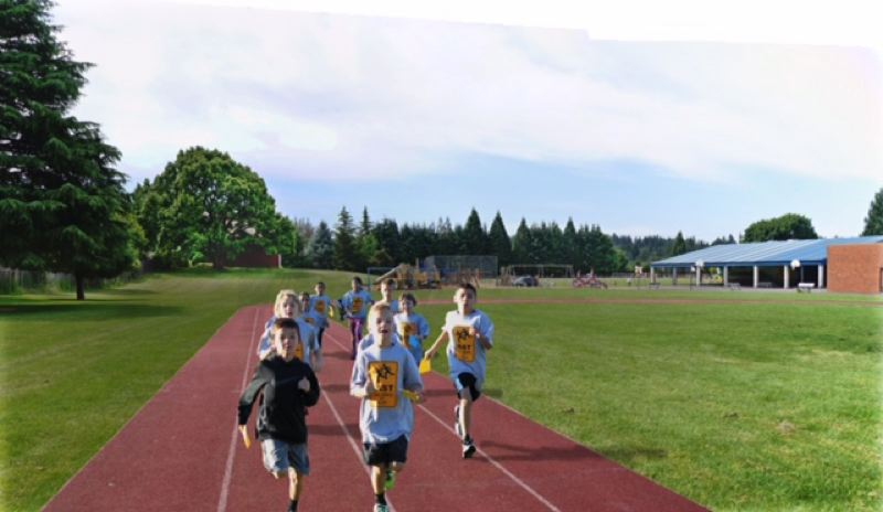 COURTESY OF LEAH FINDTNER - A rendering shows what the track planned for Bridgeport Elementary School might look like with students running on it.