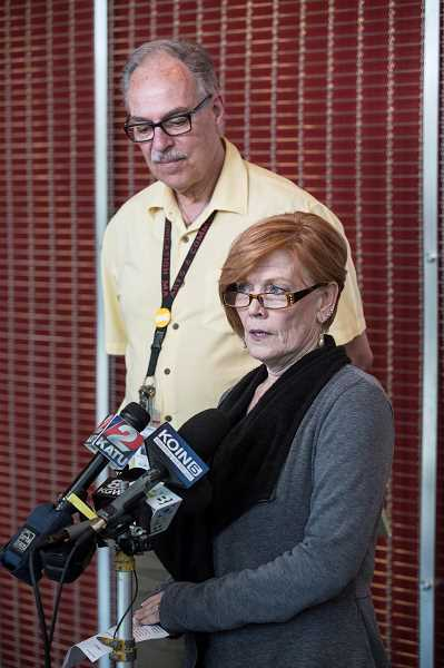 TIMES PHOTO: JONATHAN HOUSE - ACMA dance director Julane Stites and principal Michael Johnson speak during a press conference about former student Haruka Weiser, whom was killed in Austin, Texas earlier this week.