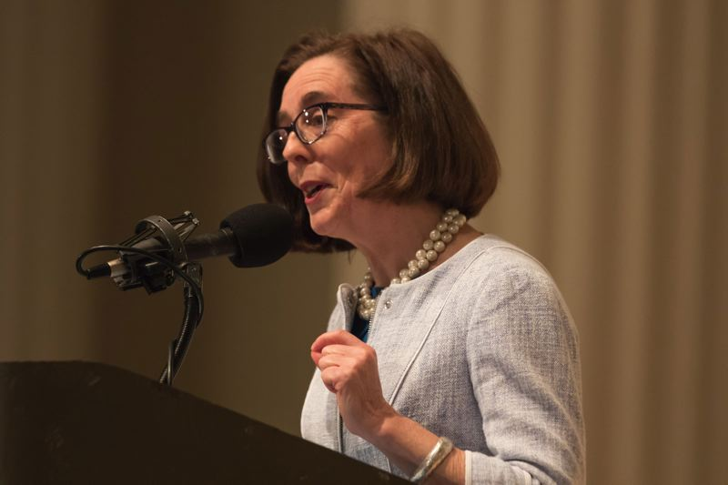 TRIBUNE PHOTO: JONATHAN HOUSE - Oregon Gov. Kate Brown says former Gov. Tom McCall would be proud of the state's first-ever achievements during the past year. Brown gave her second State of the State address Friday, April 8, at the City Club of Portland.