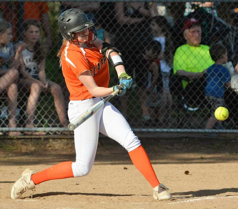 SPOTLIGHT PHOTO: JAKE MCNEAL - Indians sophomore shortstop Hannah Galey singled in a run and scored twice in No. 3 Scappoose's 11-1 five-inning defeat of second-ranked Class 3A defending state champion Dayton on Friday in Scappoose.