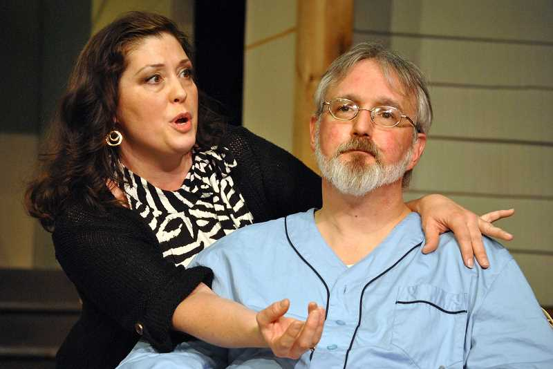 COURTESY PHOTOS: THEATRE IN THE GROVE - Masha (Jodi Harry) discusses her acting career with her brother Vanya (Aaron Morrow) in Vanya and Sonia and Masha and Spike, premiering at Theatre in the Grove April 15 at 7:30 p.m.