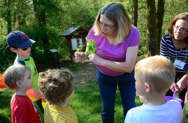 REVIEW PHOTO: VERN UYETAKE - Sue Thomas points out some tree details to the children.