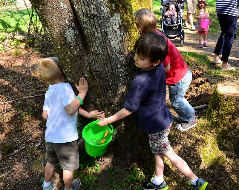 REVIEW PHOTO: VERN UYETAKE - Cody Hill, 5 (left), and Holden White, 4, take a moment to hug a tree.