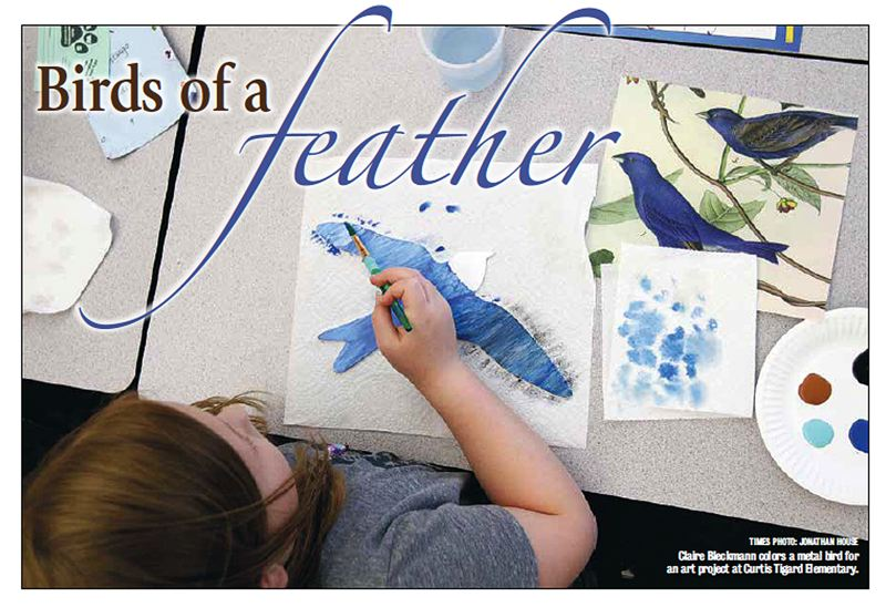 TIMES PHOTO: JONATHAN HOUSE - Claire Bleckmann colors a metal bird for an art project at Curtis Tigard Elementary.