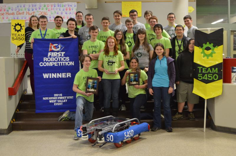 SPOTLIGHT PHOTO: NICOLE THILL - The St. Helens Robotics and Engineering Club, seen here, qualified for international championships after a strong showing at district championships last week.