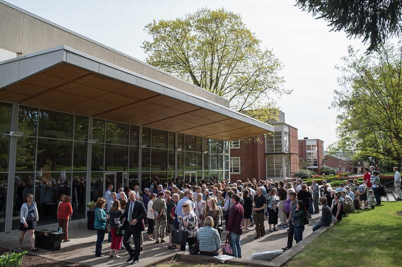 NEWS-TIMES PHOTO: CHASE ALLGOOD - Because of the strong ties between Pacific University and Samantha Cadds extended family, the school donated the use of its Taylor-Meade Performing Arts Center, where several hundred people gathered to celebrate Sams life.