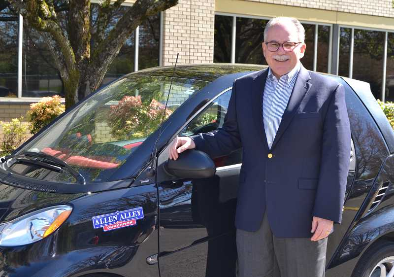 PAMPLIN MEDIA GROUP PHOTO: VANCE TONG - Allen Alley says he may be the only state Republican chairman in the nation who regularly drives a Smart Car. He's also one of the most active politicians on social media.