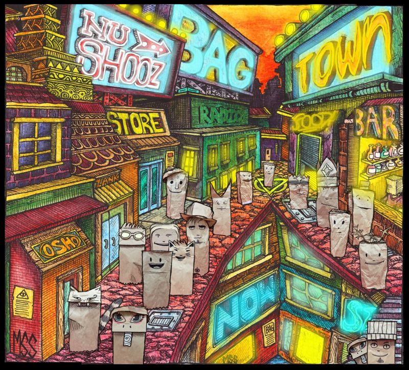 COURTESY: NU SHOOZ - Here's the cover of 'Bagtown,' with bag puppets in a city scape, designed by Malcolm Smith.