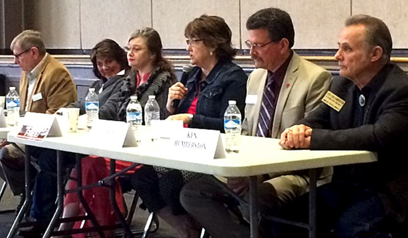 TRIBUNE PHOTO: PETER WONG - Candidates for Clackamas County commission positions outlined their positions on the Stafford hamlet issue during an April 23 forum.