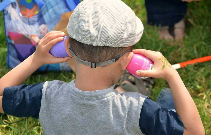 SUBMITTED PHOTO - Beeping eggs make it easy for sight-impaired children to experience a traditional Easter egg hunt.