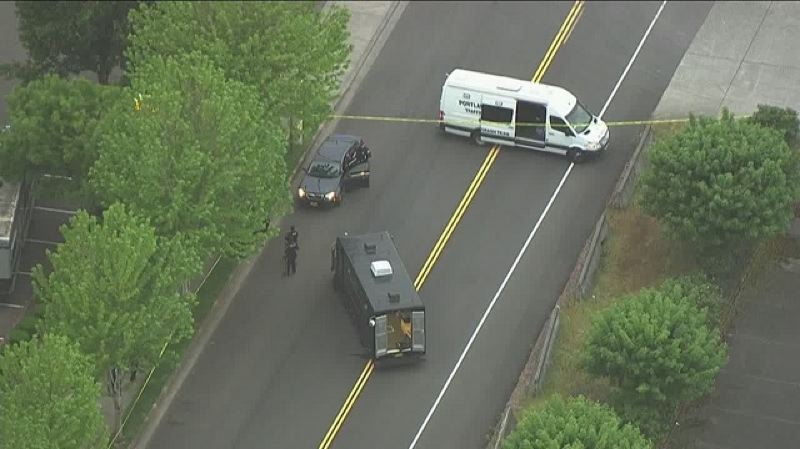 CONTRIBUTED PHOTO: KOIN 6 - The scene of the crash on Northeast Sandy Boulevard.