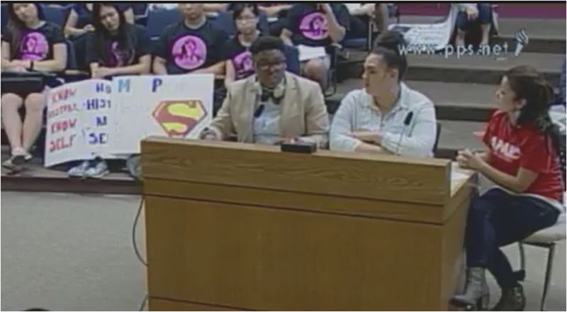 SCREENSHOT: PPS.NET - Organizers with the Asian Pacific American Network of Oregon's ALLY student group testify at the May 3 board meeting in favor of an ethnic studies curriculum.