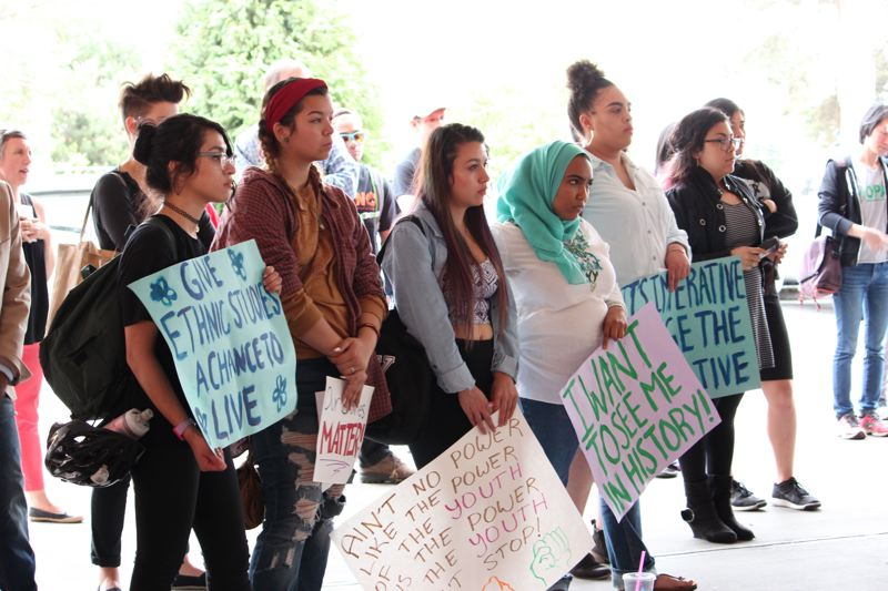 COURTESY PHOTO: APANO - Organizers at a rally before the May 3 board meeting that ended up approving a measure for ethnic studies classes at Portland Public Schools high schools.