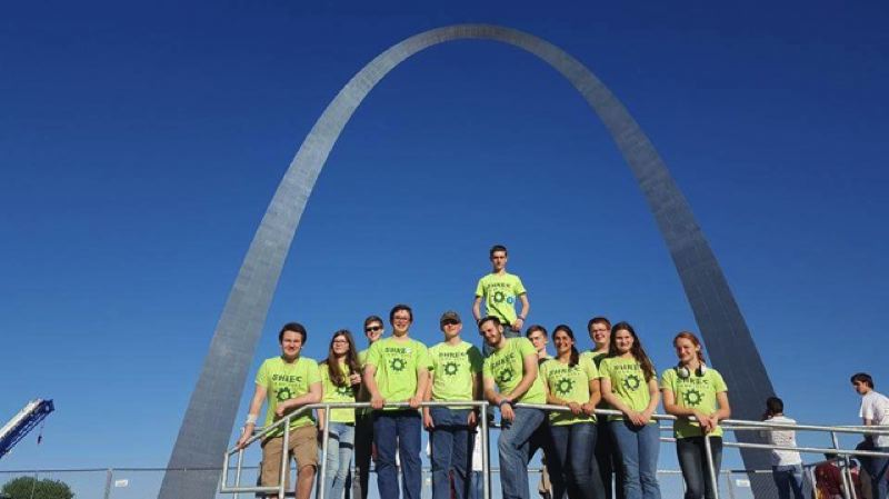 PHOTO COURTESY OF NEIL FORD - Students from the St. Helens Robotics and Engineering Club pose for a group photo under the St. Louis Gateway Arch. The team traveled to Missouri last week to compete in the FIRST Robotics World Championships.