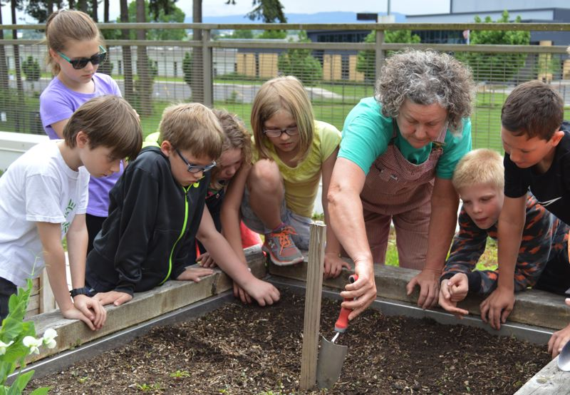 SPOTLIGHT PHOTO: NICOLE THILL - Gail Christensen, center, works a group of fourth-graders in Kristy Larson's class, in the rooftop garden at Otto Petersen Elementary School, Wednesday, May 4. Christensen outlined a small area for the students to sow onion seeds in one of the school's raised garden beds.