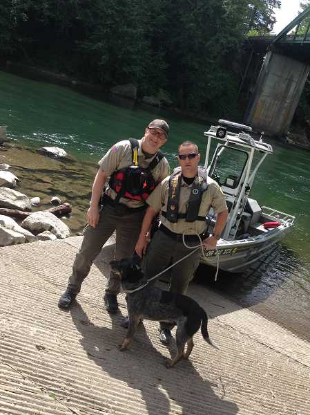CONTRIBUTED PHOTO - Members of the Clackamas County Sheriff's office are asking the public's assistance in locating the owners of a dog who was rescued on Sunday, May 8 from an embankment on the Clackamas River. The dog is an older male large build, possibly a rottweiler and blue heeler mix