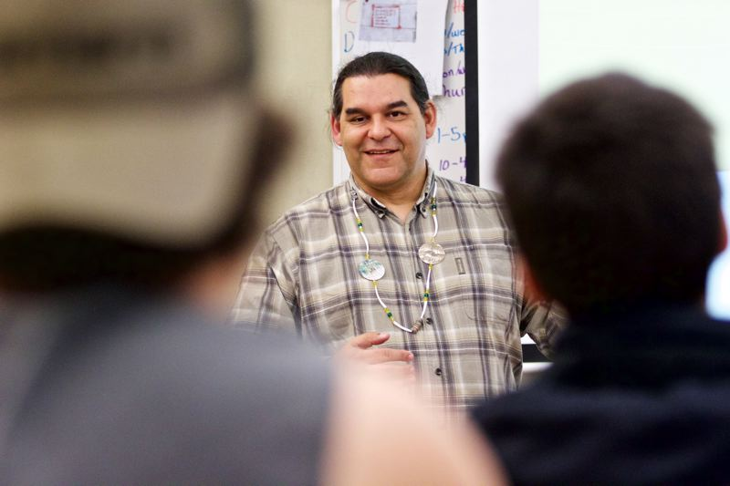 TIMES PHOTO: JAIME VALDEZ - David Lewis addresses students at Chemeketa Community College in Dallas, where he teaches.