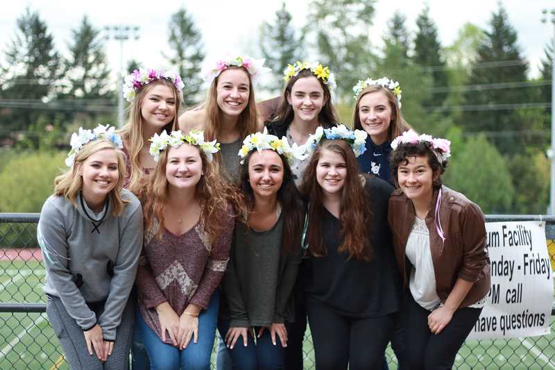 SUBMITTED PHOTO: KIARA GREEN - The May Fete court (from left): back row, Katie Owens, Nehalem Kunkle-Read, Libby Newcomer and Abby Castle; and front row, Darby Buhlmann, Lauren Working, McKenna Anders, Carrie Czarnecki and Anna Kulawiec. Not pictured is Emily Leach.