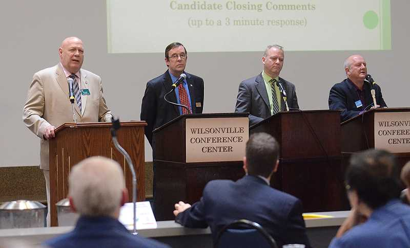 REVIEW PHOTO: VERN UYETAKE - Four candidates will compete in the May 17 primary for chair of the Clackamas County Commission (from left): John Ludlow, Dan Holladay, Paul Savas and Jim Bernard.