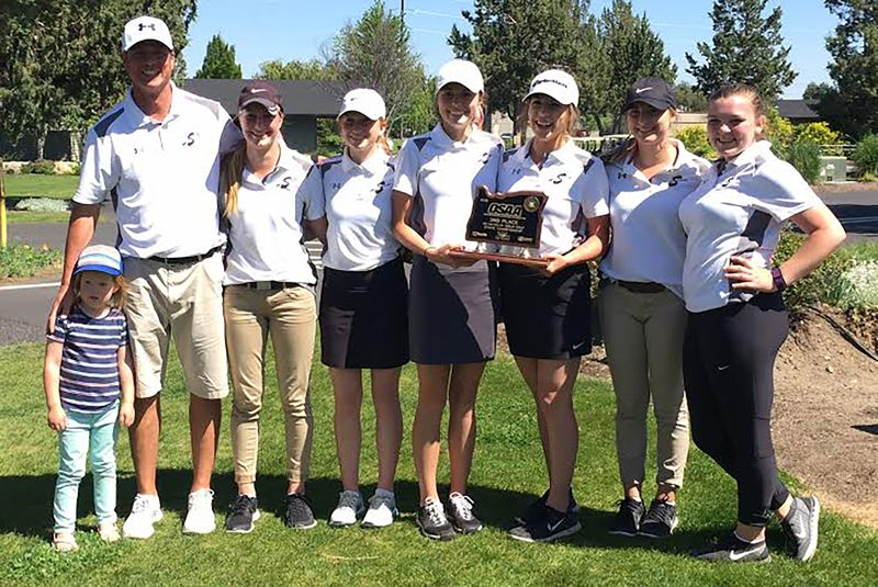 COURTESY PHOTO: SCAPPOOSE HIGH SCHOOL GIRLS' GOLF - The Cowapa League champion and Class 4A/3A/2A/1A Region 1 runner-up Indians - Kaitlyn Bakkensen, Morgan Hall, Macy Gray, Isabel Jory, Bailee Magnuson and Ali Jacobson, pictured with coach Joe Girres and his daughter, Siena - improved on last season's school-record seventh-place 394-405-799 at Eagle Crest Golf Course in Redmond with a 405-389-794 for third on Tuesday at the very same course.