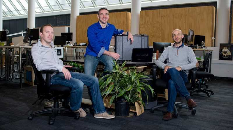 COURTESY DRONESEED - CEO Grant Canary (center) co-founded DroneSeed with Ryan Mykita and Logan Ullyott last year and have an office at Beaverton's Oregon Technology Business Center.