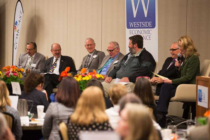 JONATHAN HOUSE - Mayors from several westside cities speak during a Westside Economic Alliance mayor's forum at Embassy Suites in Tigard on Thursday.