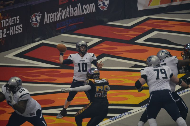COURTESY: LOS ANGELES KISS - Portland Steel quarterback Shane Austin sets up to pass during Saturday night's game against the Los Angeles KISS.