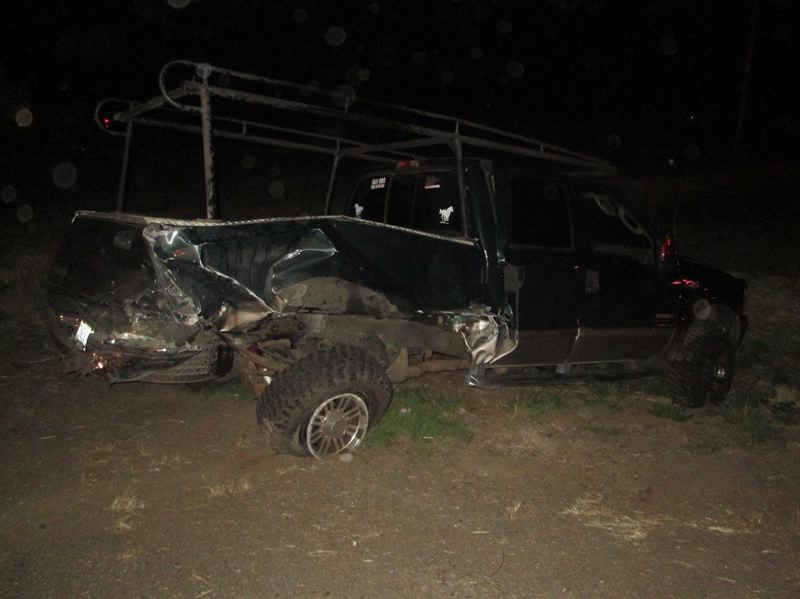 OREGON STATE POLICE - The driver of this 2003 Ford F-350 pickup truck suffered minor injuries in the May 28 crash.