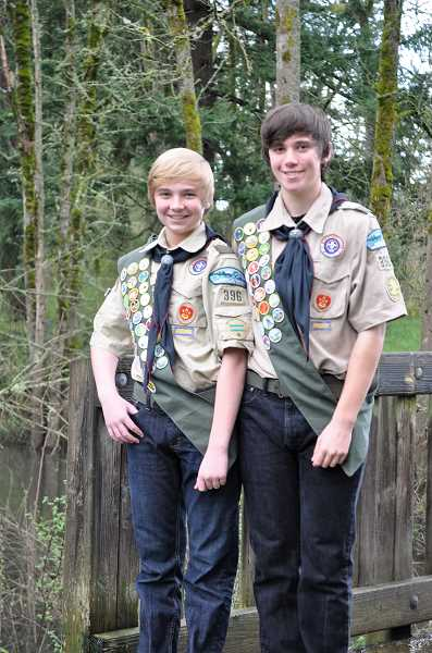SUBMITTED PHOTO - Andrew Currey, left, and his older brother Connor both completed their Eagle Scout projects earlier this month.