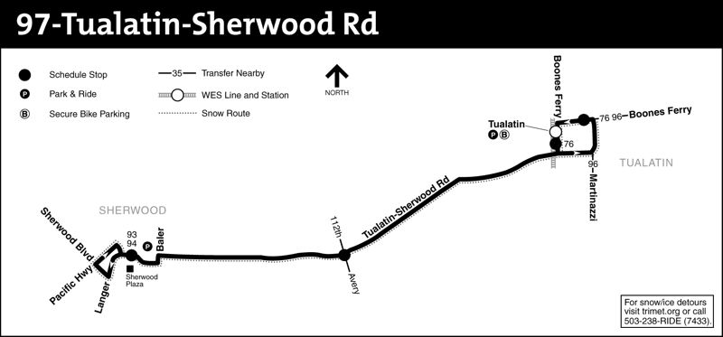 TRIMET MAP - Line 97 runs mainly along Southwest Tualatin-Sherwood Road, providing weekday commuter service between the Tualatin WES station and Sherwood Plaza.