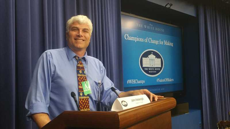 COURTESY OF KATHY ZETTL-SCHAFFER - John Niebergall was honored at the White House Friday, one of 10 Champions of Change for Making who were praised for 'doing extraordinary things to empower and inspire members of their communities.'