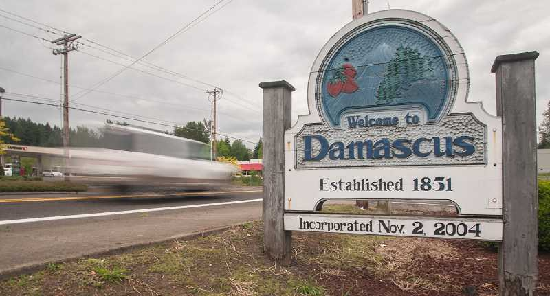 FILE PHOTO: THE OUTLOOK - Assuming the voter-approved disincorporation of the city of Damascus is upheld by a Clackamas County Circuit Court judge later this month, this sign would disappear along with the city government.