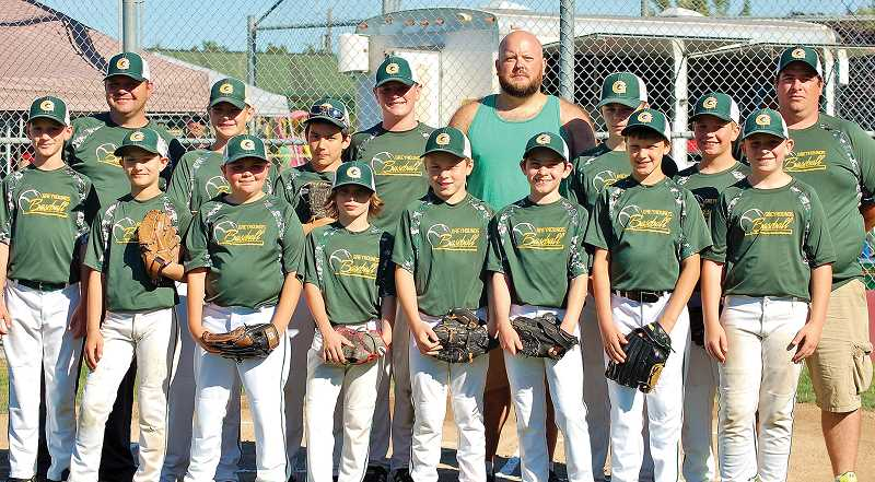 COURTESY PHOTO: PATRICIA GARNER - Gaston Greyhound Lil Guy Baseball includes (back row, left to right): Coach Brian Wilhelm, Jaden Clark, Brandon Clowdus, Johnmichael Garner, Mike Howard, Dylan Tallent, Zaden Wilhelm and Randy Hoodenpyl. Front row, left to right are: Aiden Breidenbach, Tristan Still, Blake Moler, Brenden Wiggins, Jaden Dolan, Luke Brewer, Nathan Beck and Justin Aurthor.