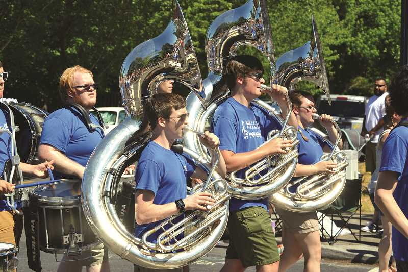 The brass section of the Hilhi marching band was in fine form during the 2015 parade in downtown Hillsboro.