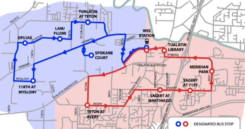 MAP COURTESY OF RIDE CONNECTION - With TriMet's bus line 97 now running along Southwest Tualatin-Sherwood Road, the Tualatin Shuttle has mostly diverted its service off the frequently congested arterial.