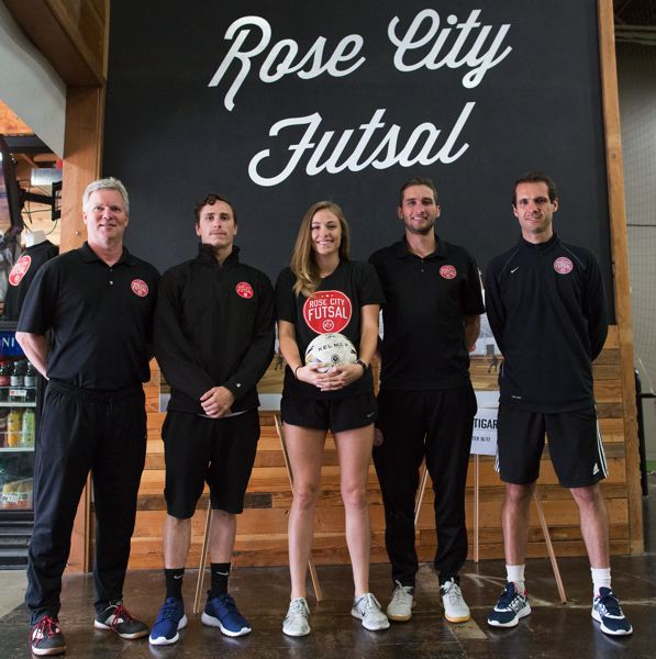 TIMES PHOTO: JAIME VALDEZ - From left to right, Kevin Murray, general manager; Chris Croft and Carlee Middleton, program managers; Gresham Prehn, assistant GM; and Eduardo Araujo, director of coaching, are key members of Rose City Futsal's leadership team.