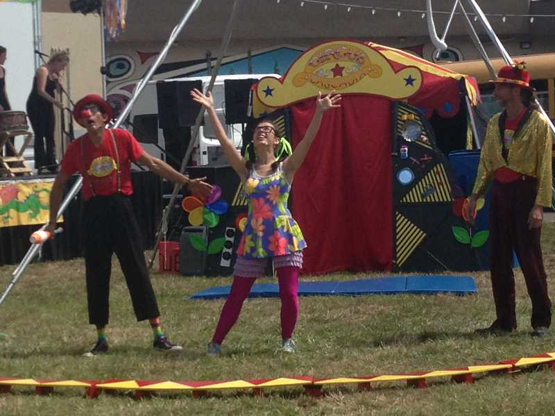 ESTACADA NEWS PHOTO: EMILY LINDSTRAND - During the 2016 Summer Celebration, members of Circus Cascadia delighted audiences with their mischievous antics.