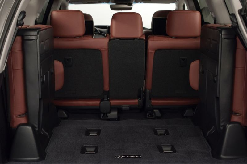 TOYOTA MOTOR SALES USA - The 2016 Lexus LX 570 can seat eight when the rear jump seats are electroncally folded down.