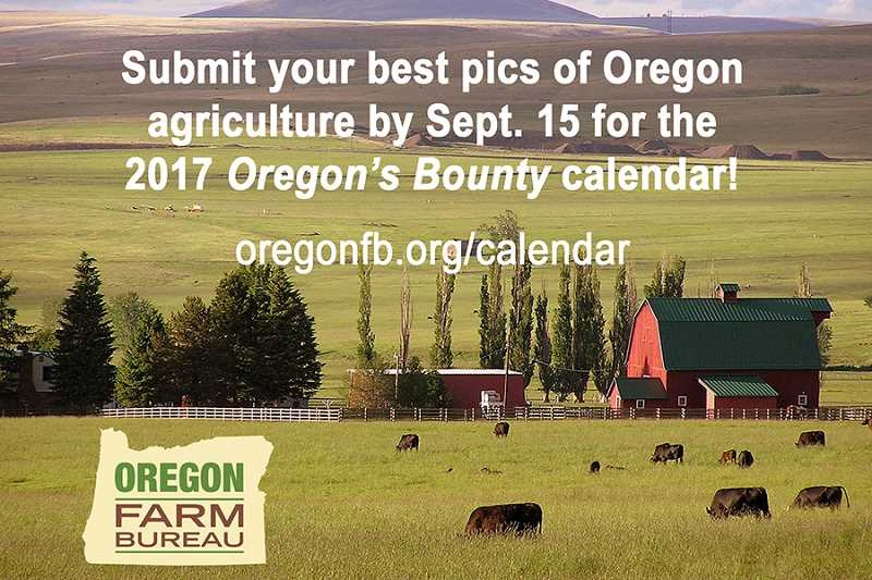 COURTESY PHOTO - Submit photos to the Oregon Farm Bureau by Sept. 15 for its 2017 Oregons Bounty calendar.