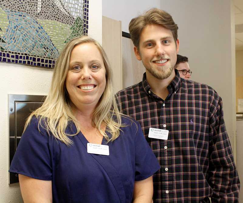 ESTACADA NEWS PHOTO: ELIZE MANOUKIAN - Orchid Healths three healthcare providers and co-founders, Oliver Alexander and Orion Falvey, attended the grand opening event.