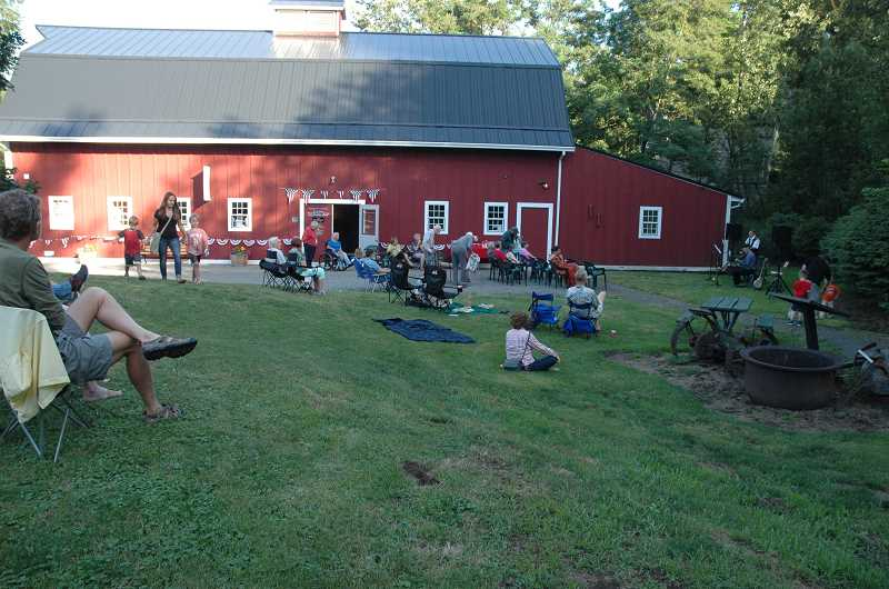 PHOTO COURTESY OF JON D. LOWELL - Music fans gather for a Barnyard Concert, put on by the Troutdale Historical Society. The next show is set for Friday, Sept. 2.