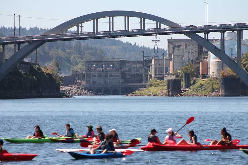 SPOKESMAN PHOTO: ANDREW KILSTROM - CREST campers kayaked and paddleboarded all the way to the Willamette Falls.