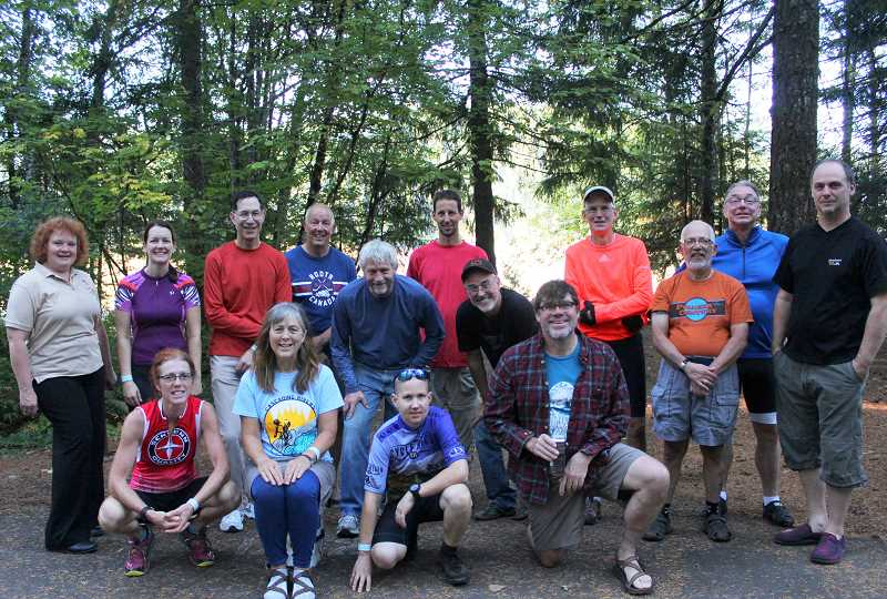 CONTRIBUTED PHOTO: PHIL LINGELBACH - Last years participants on the Killer Fang ride, one of the courses among the Cascading Rivers Ride, take a break from their two-day trek along the Cascading Rivers Bikeway.