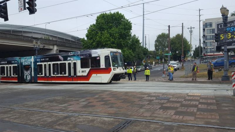 COURTESY TRIMET - A MAX train tests new tracks, signals and switches as part of the Rose Quarter MAX Improvements project.
