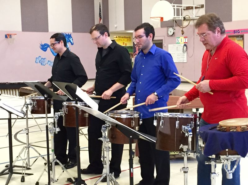 CONTRIBUTED PHOTO - Drums are one of the many instruments played by members of the  Oregon Symphony Percussion Quartet. The group will perform at the Estacada Auditorium on Monday, Sept. 12.