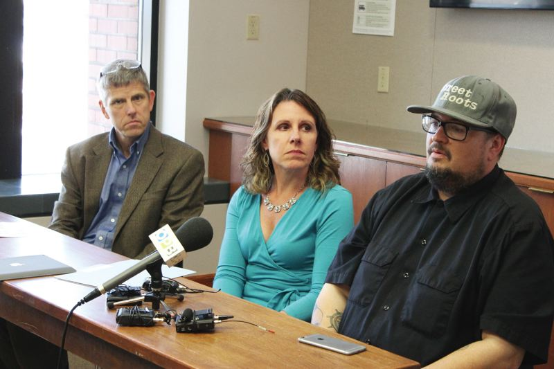 PORTLAND TRIBUNE: LYNDSEY HEWITT - Multnomah County health officer Dr. Paul Lewis, Multnomah County Chair Deborah Kafoury, and Street Roots Director Israel Bayer addressed reporters on Friday after the release of Domicile Unknown, an annual report on homeless deaths in the county.